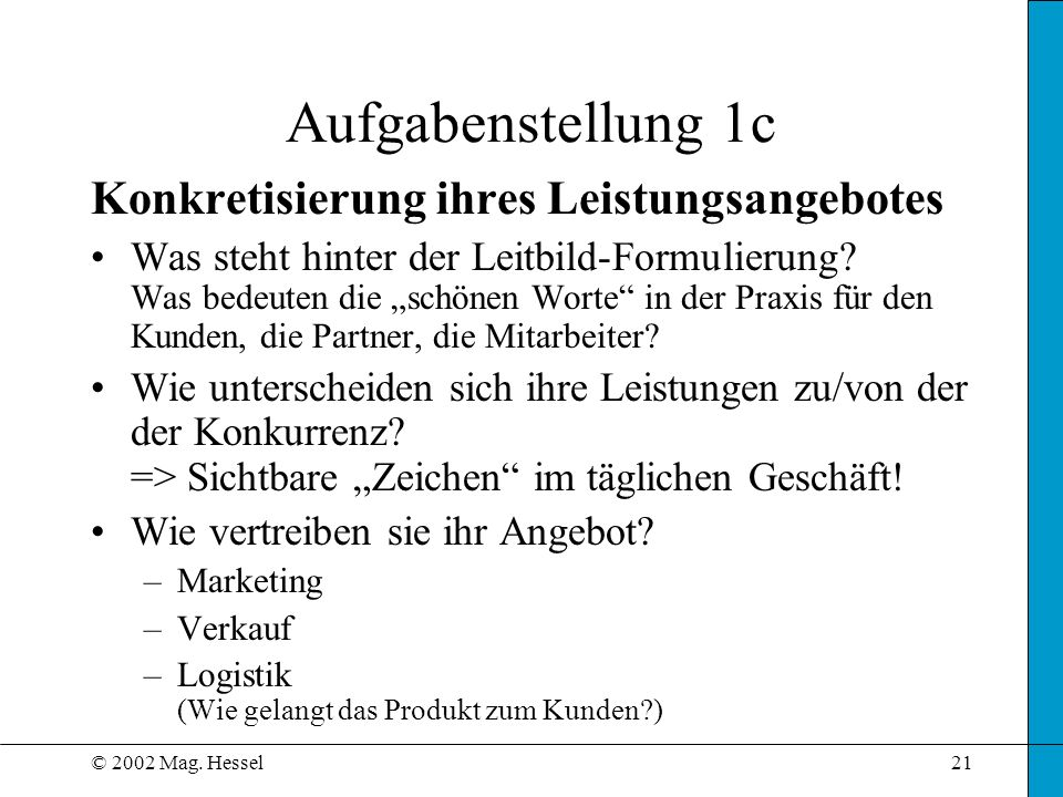 © 2002 Mag. Hessel21 Aufgabenstellung 1c Konkretisierung ihres Leistungsangebotes Was steht hinter der Leitbild-Formulierung? Was bedeuten die schönen