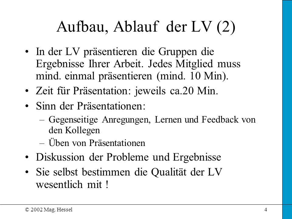 © 2002 Mag. Hessel4 Aufbau, Ablauf der LV (2) In der LV präsentieren die Gruppen die Ergebnisse Ihrer Arbeit. Jedes Mitglied muss mind. einmal präsent