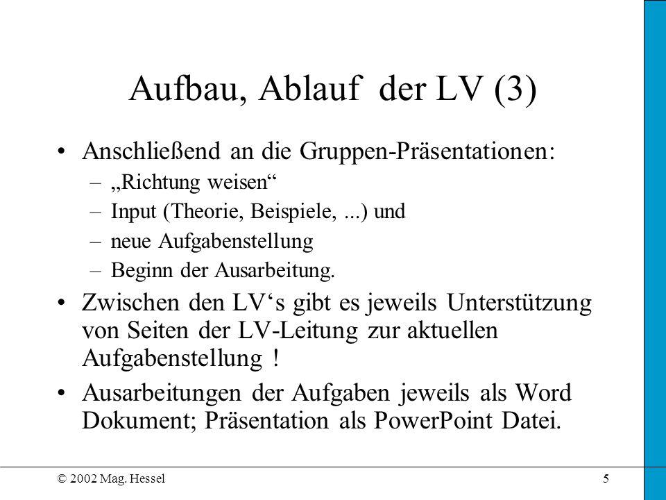 © 2002 Mag. Hessel5 Aufbau, Ablauf der LV (3) Anschließend an die Gruppen-Präsentationen: –Richtung weisen –Input (Theorie, Beispiele,...) und –neue A