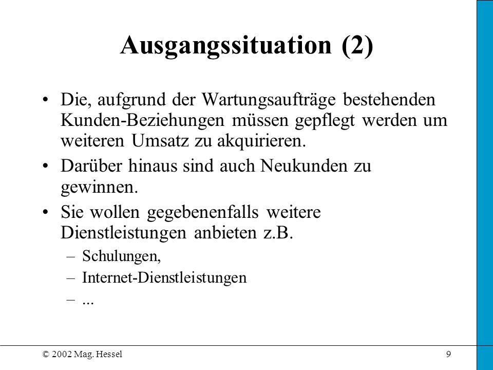 © 2002 Mag. Hessel9 Ausgangssituation (2) Die, aufgrund der Wartungsaufträge bestehenden Kunden-Beziehungen müssen gepflegt werden um weiteren Umsatz