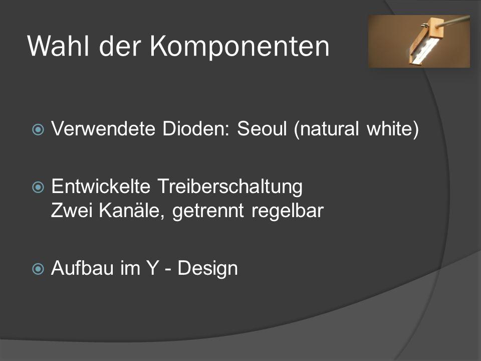 Wahl der Komponenten Verwendete Dioden: Seoul (natural white) Entwickelte Treiberschaltung Zwei Kanäle, getrennt regelbar Aufbau im Y - Design