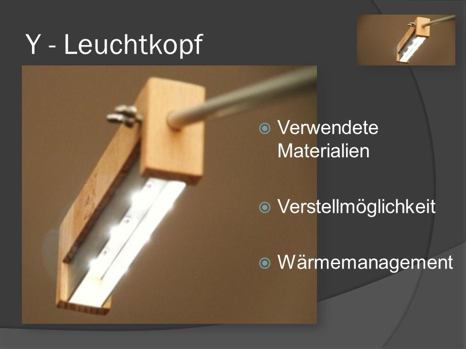Y - Leuchtkopf Verwendete Materialien Verstellmöglichkeit Wärmemanagement