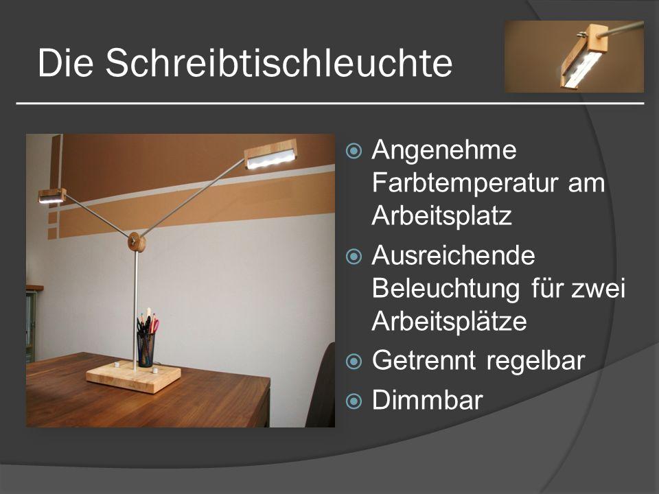 Die Schreibtischleuchte Angenehme Farbtemperatur am Arbeitsplatz Ausreichende Beleuchtung für zwei Arbeitsplätze Getrennt regelbar Dimmbar