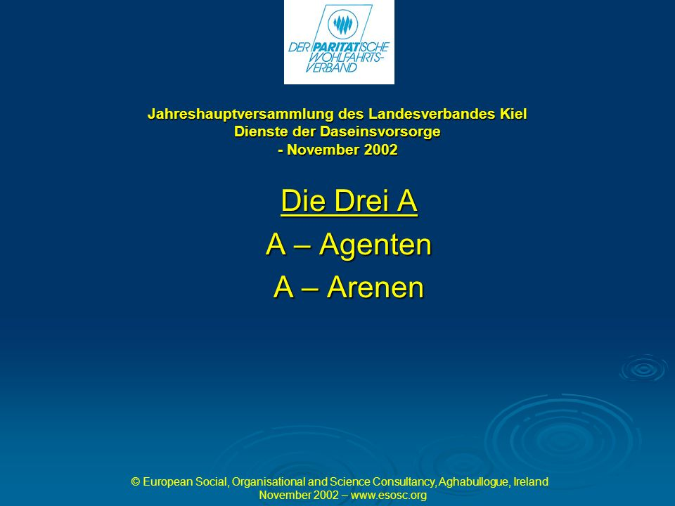 Jahreshauptversammlung des Landesverbandes Kiel Dienste der Daseinsvorsorge - November 2002 Die Drei A A – Agenten A – Arenen © European Social, Organisational and Science Consultancy, Aghabullogue, Ireland November 2002 –