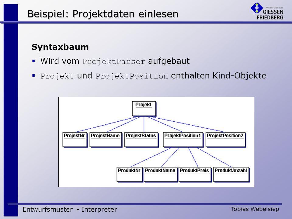 Entwurfsmuster - Interpreter Tobias Webelsiep Syntaxbaum Wird vom ProjektParser aufgebaut Projekt und ProjektPosition enthalten Kind-Objekte Beispiel: