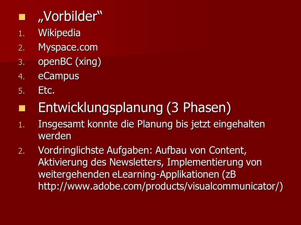 Vorbilder Vorbilder 1. Wikipedia 2. Myspace.com 3.