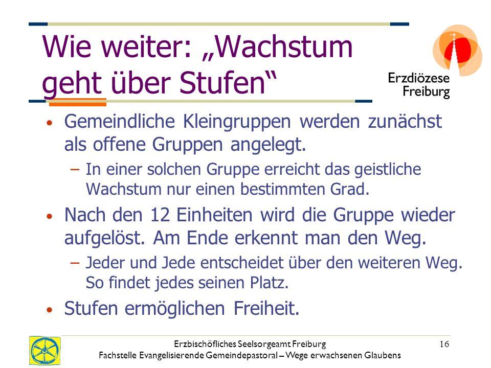 Erzbischöfliches Seelsorgeamt Freiburg Fachstelle Evangelisierende Gemeindepastoral – Wege erwachsenen Glaubens 16 Wie weiter: Wachstum geht über Stufen Gemeindliche Kleingruppen werden zunächst als offene Gruppen angelegt.