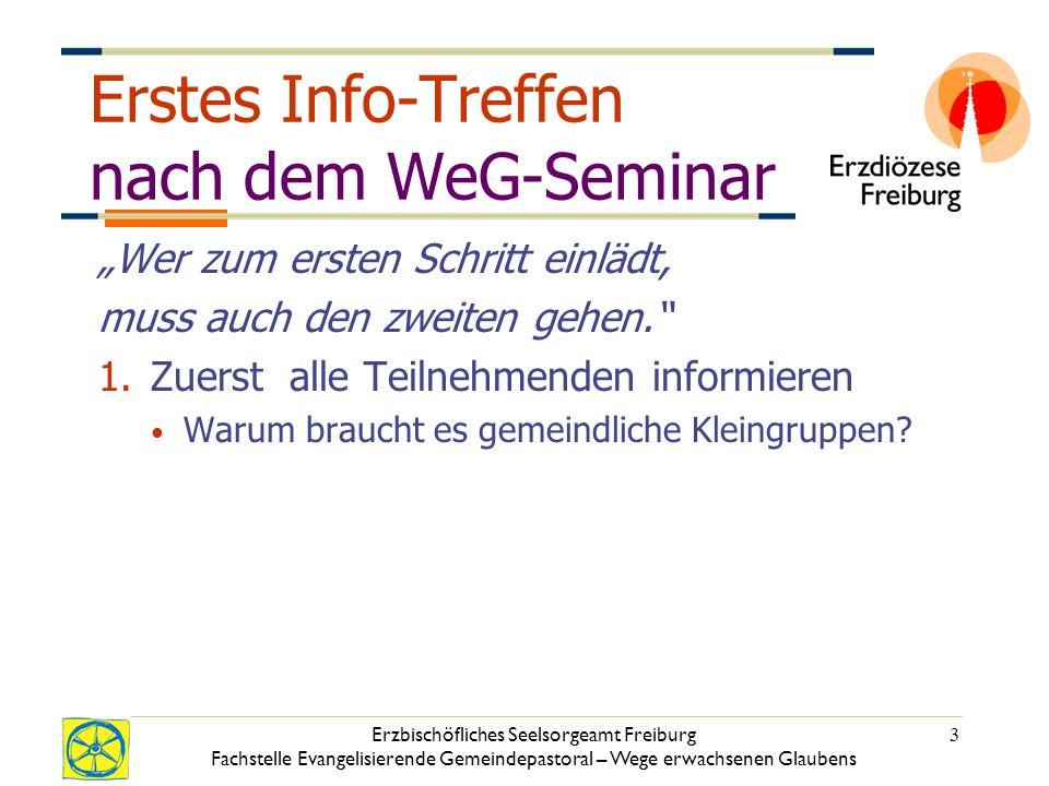 Erzbischöfliches Seelsorgeamt Freiburg Fachstelle Evangelisierende Gemeindepastoral – Wege erwachsenen Glaubens 3 Erstes Info-Treffen nach dem WeG-Seminar Wer zum ersten Schritt einlädt, muss auch den zweiten gehen.