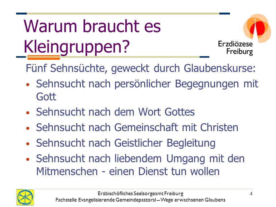 Erzbischöfliches Seelsorgeamt Freiburg Fachstelle Evangelisierende Gemeindepastoral – Wege erwachsenen Glaubens 4 Warum braucht es Kleingruppen? Fünf
