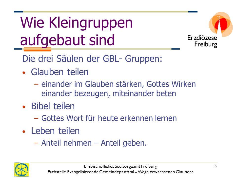 Erzbischöfliches Seelsorgeamt Freiburg Fachstelle Evangelisierende Gemeindepastoral – Wege erwachsenen Glaubens 5 Wie Kleingruppen aufgebaut sind Die