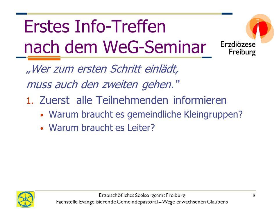 Erzbischöfliches Seelsorgeamt Freiburg Fachstelle Evangelisierende Gemeindepastoral – Wege erwachsenen Glaubens 8 Erstes Info-Treffen nach dem WeG-Seminar Wer zum ersten Schritt einlädt, muss auch den zweiten gehen.