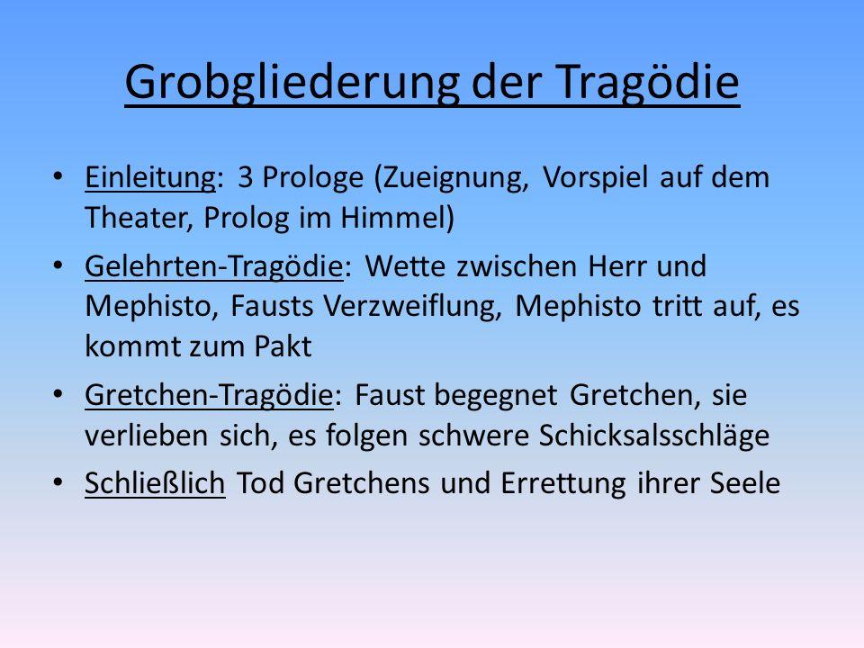Grobgliederung der Tragödie Einleitung: 3 Prologe (Zueignung, Vorspiel auf dem Theater, Prolog im Himmel) Gelehrten-Tragödie: Wette zwischen Herr und