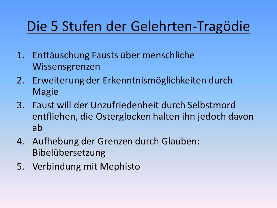 Die 5 Stufen der Gelehrten-Tragödie 1.Enttäuschung Fausts über menschliche Wissensgrenzen 2.Erweiterung der Erkenntnismöglichkeiten durch Magie 3.Faus