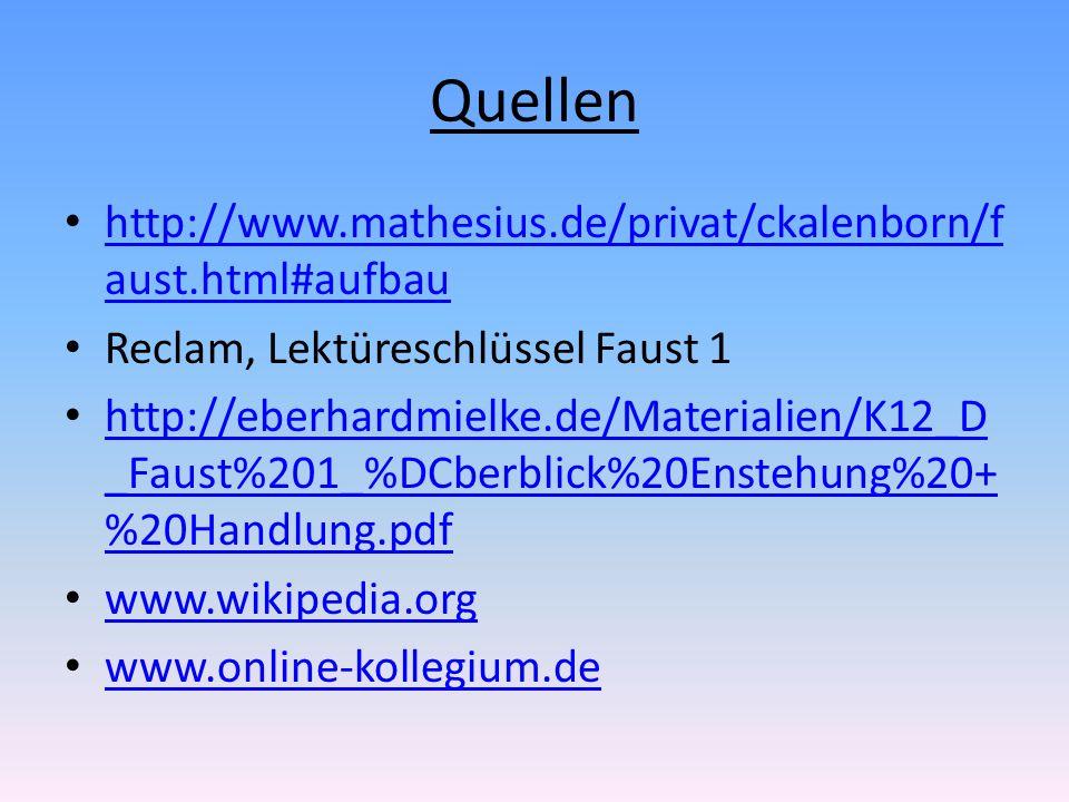 Quellen http://www.mathesius.de/privat/ckalenborn/f aust.html#aufbau http://www.mathesius.de/privat/ckalenborn/f aust.html#aufbau Reclam, Lektüreschlü