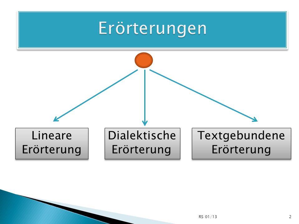 Lineare Erörterung Dialektische Erörterung Dialektische Erörterung Textgebundene Erörterung Textgebundene Erörterung 2RS 01/13