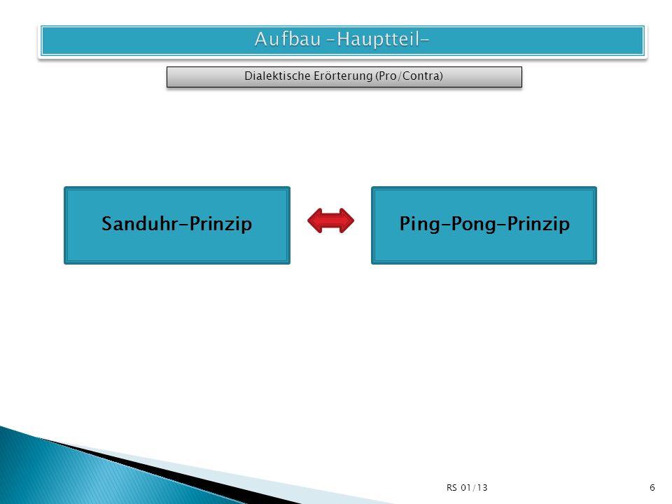 Argumente 3 Contra-Seite stark Dialektische Erörterung (Pro/Contra) Sanduhr-Prinzip I Argumente 2 Argumente 1 schwach Argumente 1 Argumente 2 Argumente 3 schwach stark Pro-Seite 7RS 01/13