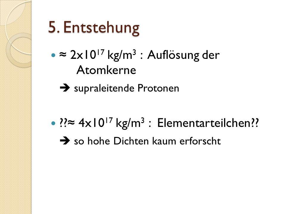 5. Entstehung 2x10 17 kg/m 3 : Auflösung der Atomkerne supraleitende Protonen ?? 4x10 17 kg/m 3 : Elementarteilchen?? so hohe Dichten kaum erforscht