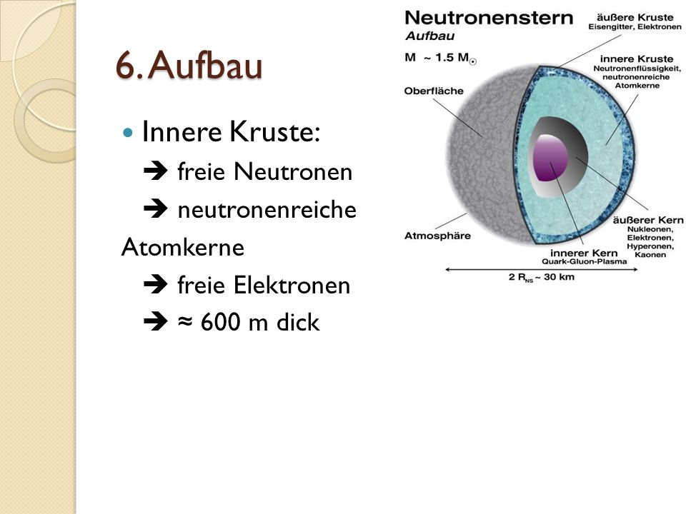 6. Aufbau Innere Kruste: freie Neutronen neutronenreiche Atomkerne freie Elektronen 600 m dick