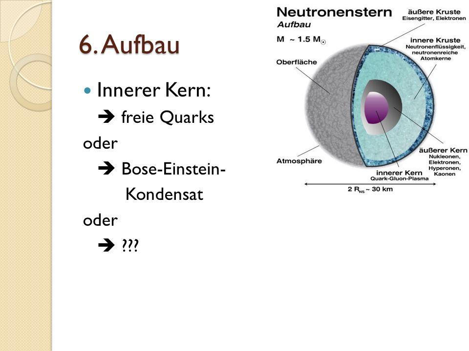 6. Aufbau Innerer Kern: freie Quarks oder Bose-Einstein- Kondensat oder ???