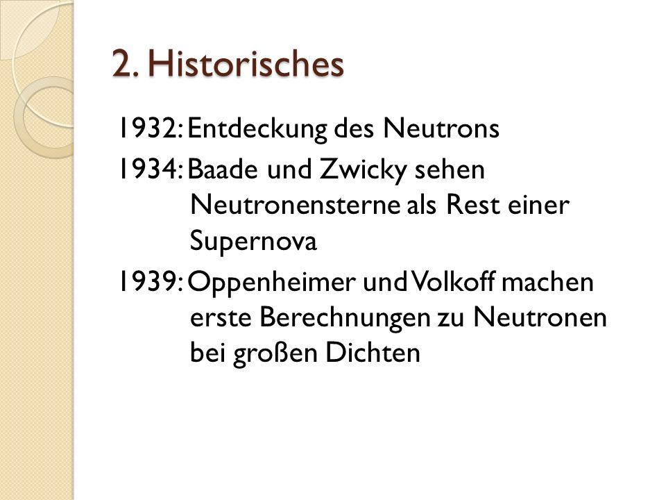 2. Historisches 1932: Entdeckung des Neutrons 1934: Baade und Zwicky sehen Neutronensterne als Rest einer Supernova 1939: Oppenheimer und Volkoff mach