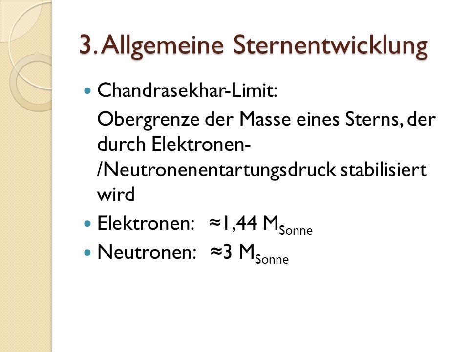 3. Allgemeine Sternentwicklung Chandrasekhar-Limit: Obergrenze der Masse eines Sterns, der durch Elektronen- /Neutronenentartungsdruck stabilisiert wi