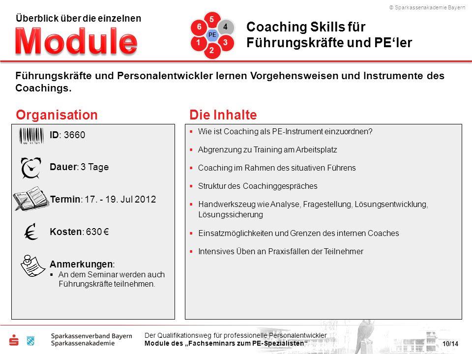 © Sparkassenakademie Bayern 10/14 Der Qualifikationsweg für professionelle Personalentwickler Module des Fachseminars zum PE-Spezialisten Wie ist Coac