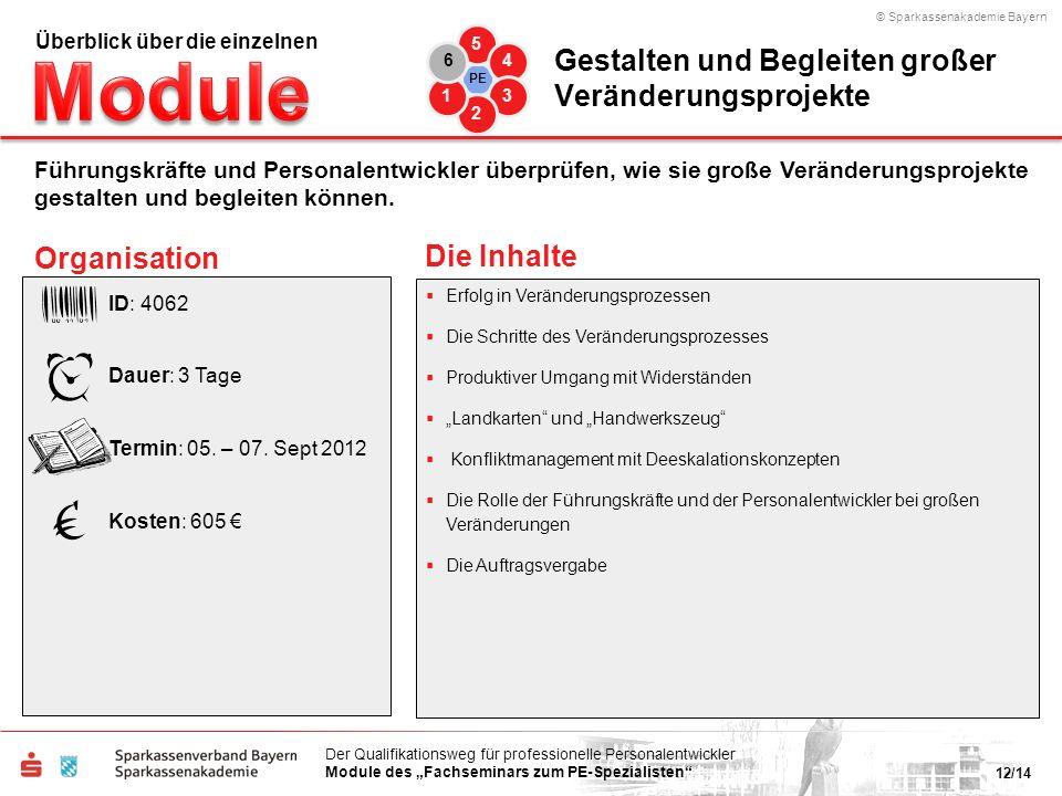 © Sparkassenakademie Bayern 12/14 Der Qualifikationsweg für professionelle Personalentwickler Module des Fachseminars zum PE-Spezialisten Erfolg in Ve