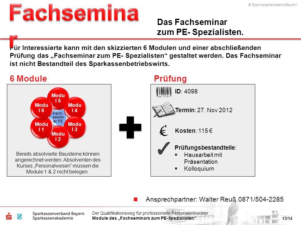 © Sparkassenakademie Bayern 13/14 Der Qualifikationsweg für professionelle Personalentwickler Module des Fachseminars zum PE-Spezialisten Ansprechpart