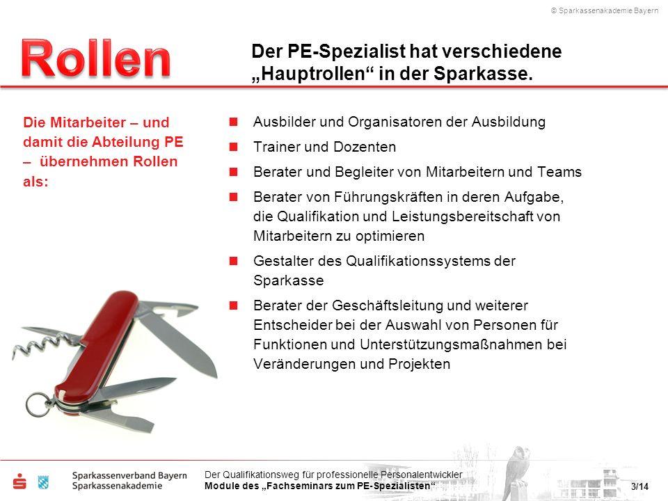 © Sparkassenakademie Bayern 3/14 Der Qualifikationsweg für professionelle Personalentwickler Module des Fachseminars zum PE-Spezialisten Ausbilder und
