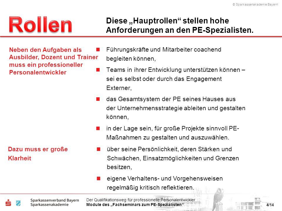 © Sparkassenakademie Bayern 4/14 Der Qualifikationsweg für professionelle Personalentwickler Module des Fachseminars zum PE-Spezialisten Führungskräft