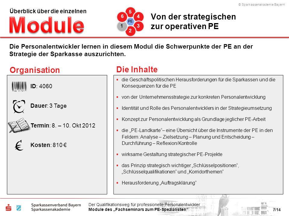 © Sparkassenakademie Bayern 7/14 Der Qualifikationsweg für professionelle Personalentwickler Module des Fachseminars zum PE-Spezialisten die Geschäfts