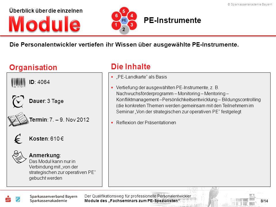 © Sparkassenakademie Bayern 8/14 Der Qualifikationsweg für professionelle Personalentwickler Module des Fachseminars zum PE-Spezialisten PE-Landkarte