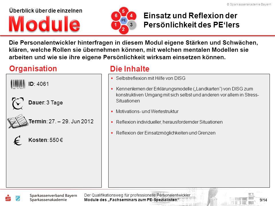 © Sparkassenakademie Bayern 9/14 Der Qualifikationsweg für professionelle Personalentwickler Module des Fachseminars zum PE-Spezialisten Organisation