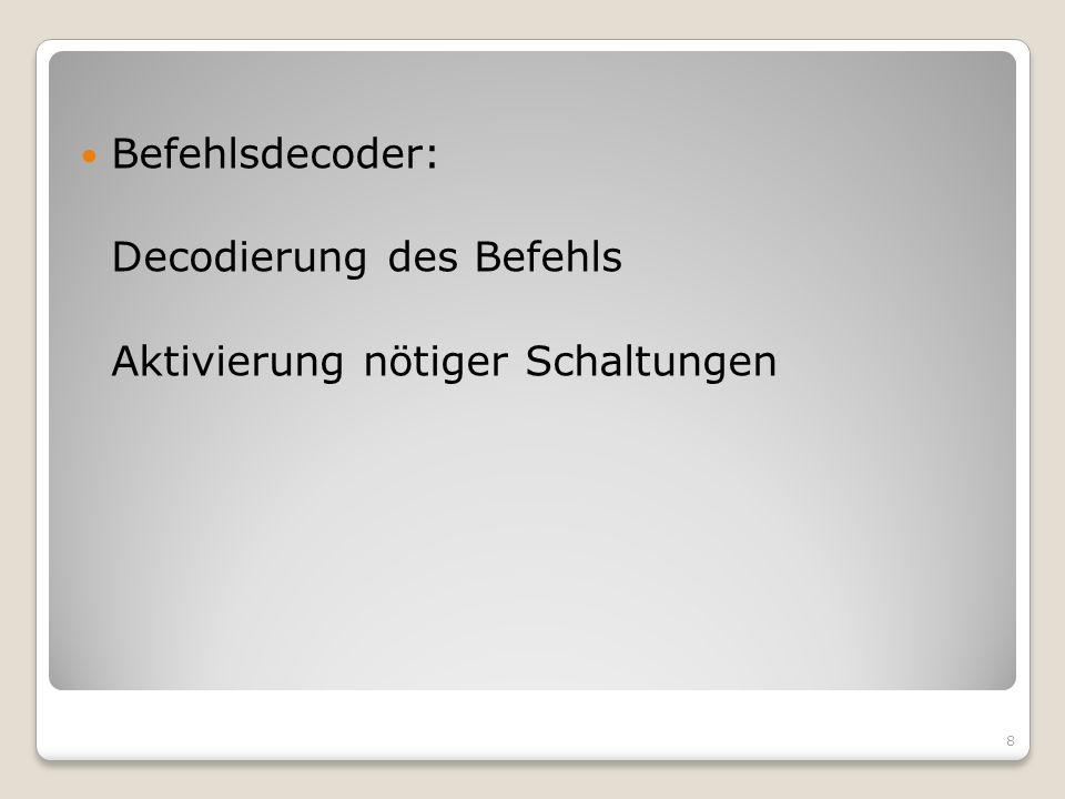 Befehlsdecoder: Decodierung des Befehls Aktivierung nötiger Schaltungen 8