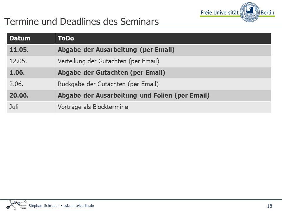 18 Stephan Schröder cst.mi.fu-berlin.de Termine und Deadlines des Seminars DatumToDo 11.05.Abgabe der Ausarbeitung (per Email) 12.05.Verteilung der Gu
