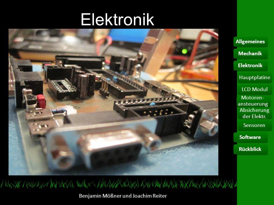 Elektronik Benjamin Mößner und Joachim Reiter AllgemeinesElektronikHauptplatine Motoren- ansteuerung Absicherung der Elektr. SoftwareRückblickMechanik