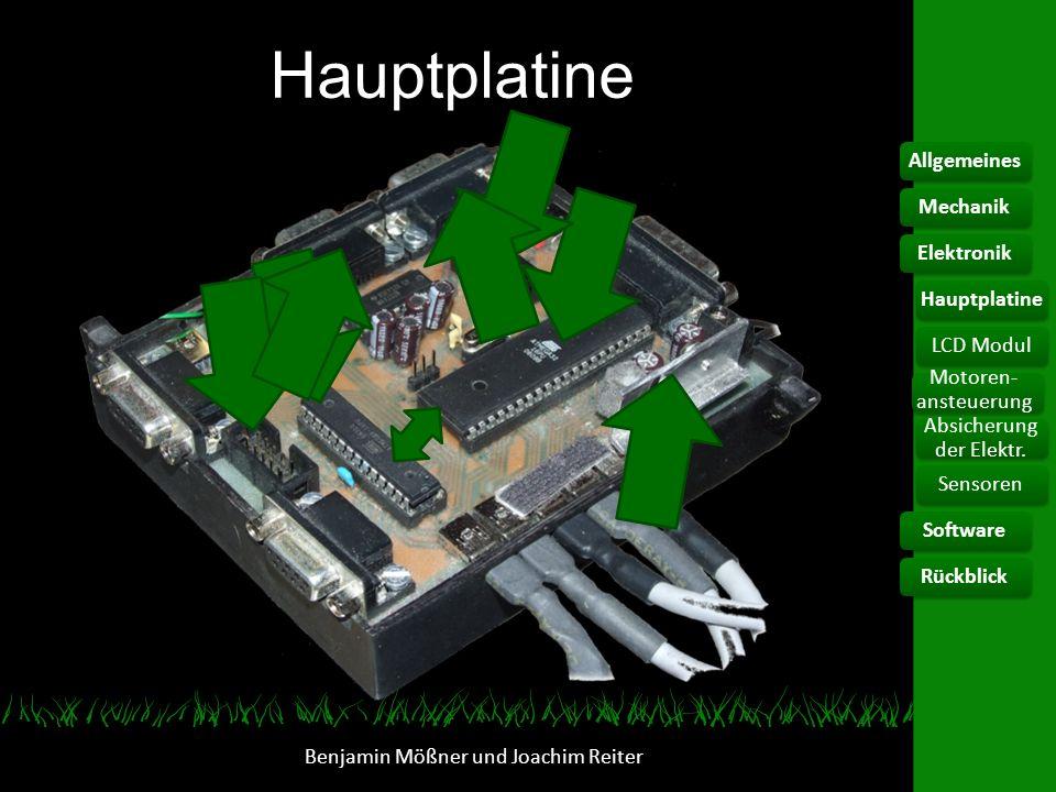 Hauptplatine Benjamin Mößner und Joachim Reiter AllgemeinesElektronikHauptplatine Motoren- ansteuerung Absicherung der Elektr. SoftwareRückblickMechan