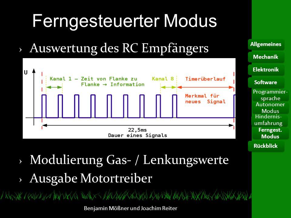 Ferngesteuerter Modus Auswertung des RC Empfängers Modulierung Gas- / Lenkungswerte Ausgabe Motortreiber Benjamin Mößner und Joachim Reiter Allgemeine