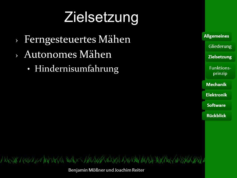 Funktionsprinzip herkömmlicher Roboter Begrenzung durch Kontaktschleife Zufälliges und häufiges Mähen Benjamin Mößner und Joachim Reiter AllgemeinesElektronikSoftwareRückblick Gliederung Zielsetzung Funktions- prinzip Mechanik