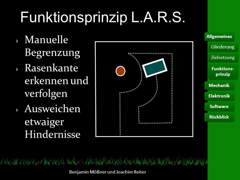Funktionsprinzip L.A.R.S. Manuelle Begrenzung Rasenkante erkennen und verfolgen Ausweichen etwaiger Hindernisse Benjamin Mößner und Joachim Reiter All