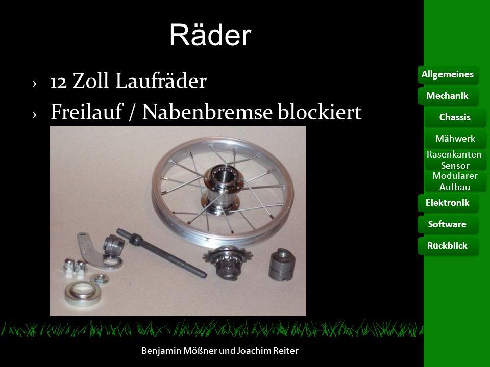 Antrieb Benjamin Mößner und Joachim Reiter Drehbar um Kette zu spannen Antriebsmotoren je 100W AllgemeinesElektronikChassis Rasenkanten- Sensor Modularer Aufbau SoftwareRückblickMechanikMähwerk