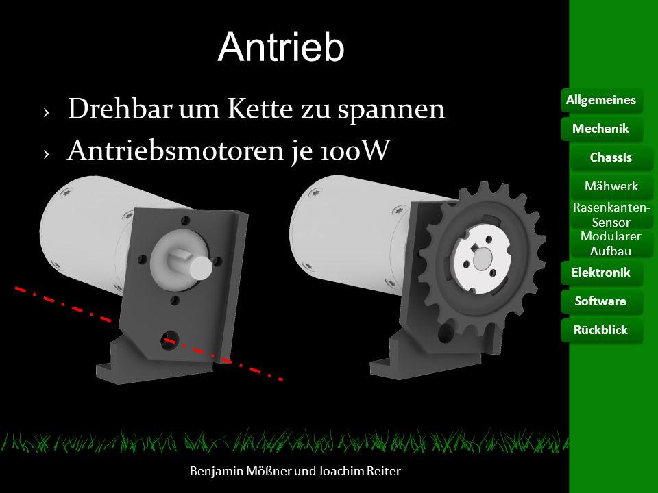 Antrieb Benjamin Mößner und Joachim Reiter Drehbar um Kette zu spannen Antriebsmotoren je 100W AllgemeinesElektronikChassis Rasenkanten- Sensor Modula