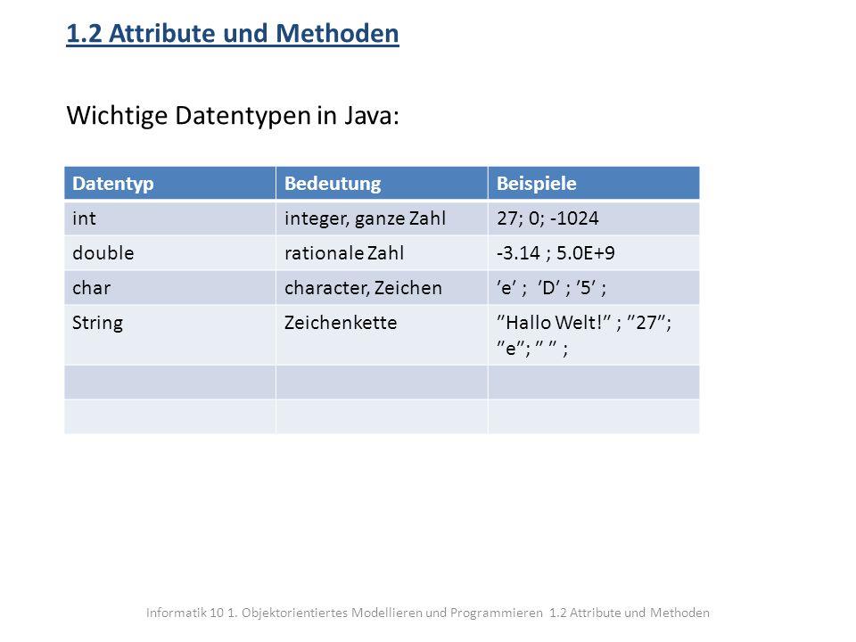 Informatik 10 1. Objektorientiertes Modellieren und Programmieren 1.2 Attribute und Methoden 1.2 Attribute und Methoden Wichtige Datentypen in Java: D