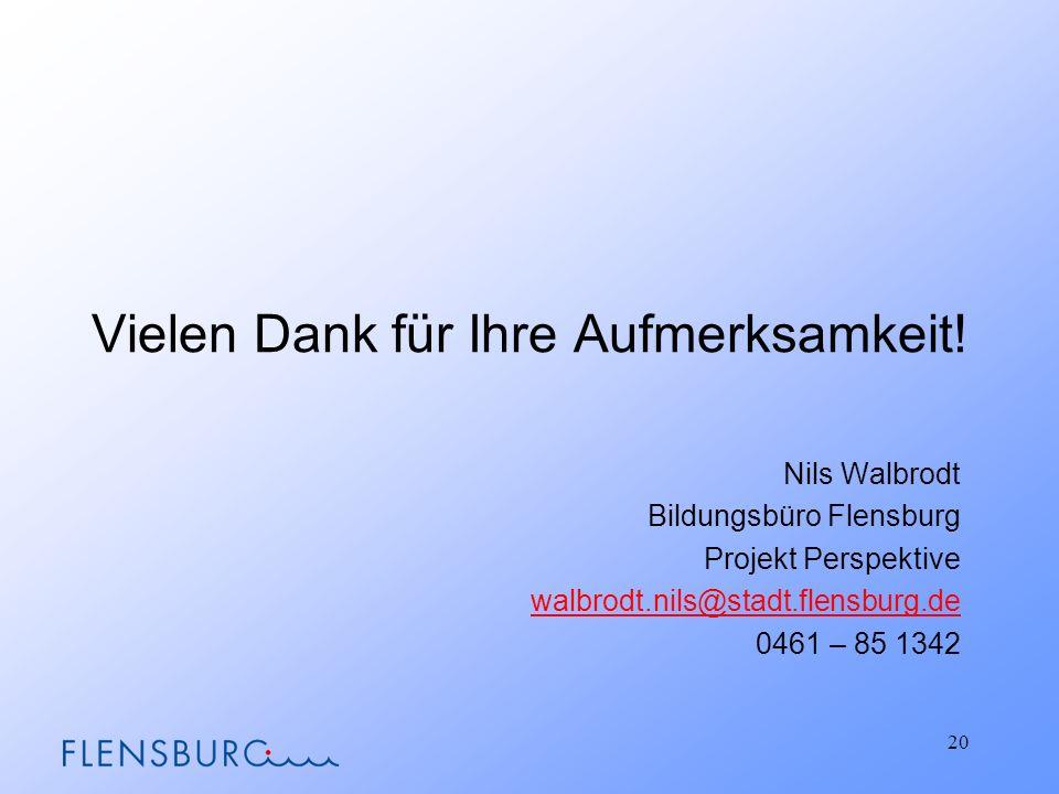 Vielen Dank für Ihre Aufmerksamkeit! Nils Walbrodt Bildungsbüro Flensburg Projekt Perspektive walbrodt.nils@stadt.flensburg.de 0461 – 85 1342 20