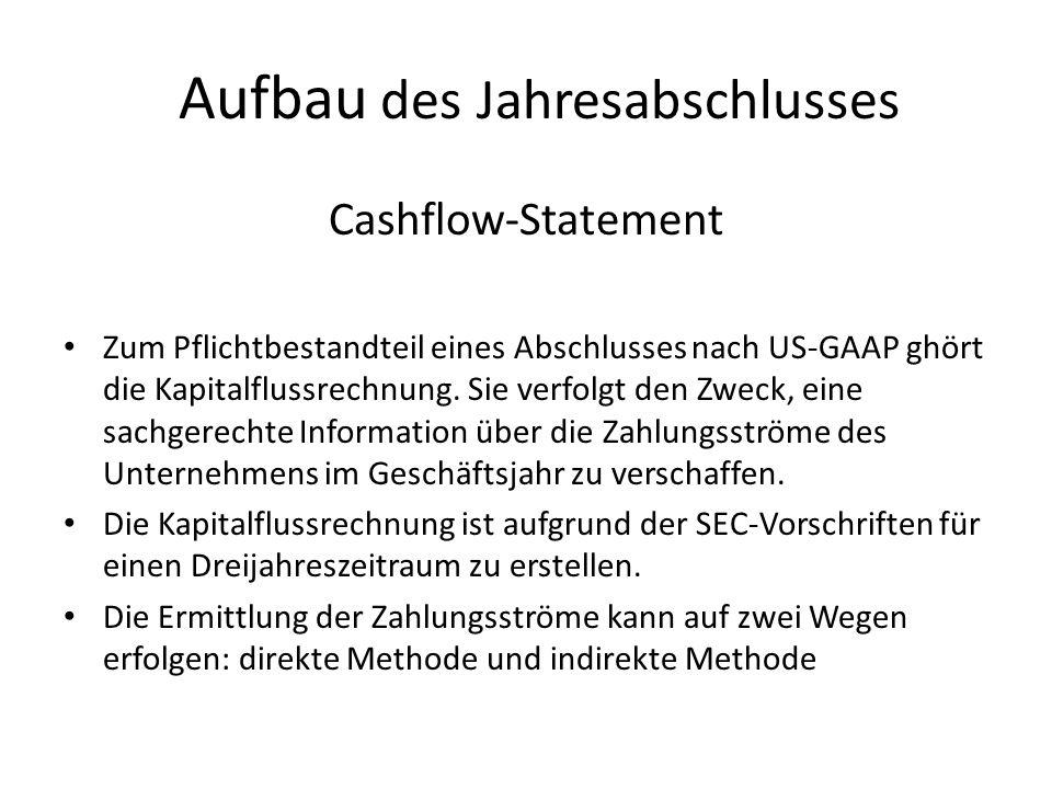 Aufbau des Jahresabschlusses Cashflow-Statement Zum Pflichtbestandteil eines Abschlusses nach US-GAAP ghört die Kapitalflussrechnung. Sie verfolgt den
