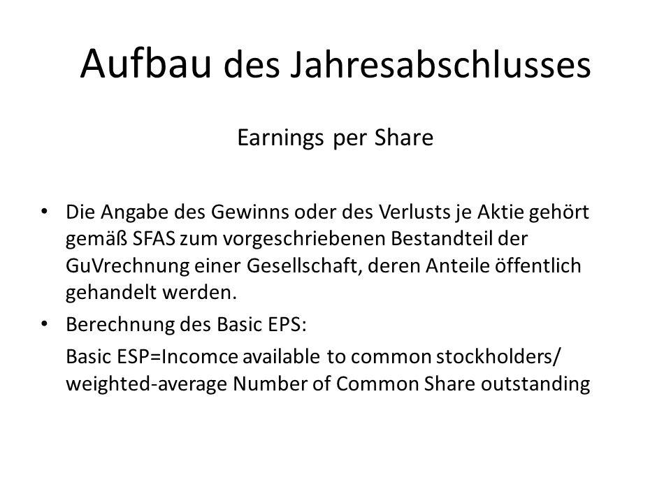 Aufbau des Jahresabschlusses Earnings per Share Die Angabe des Gewinns oder des Verlusts je Aktie gehört gemäß SFAS zum vorgeschriebenen Bestandteil d