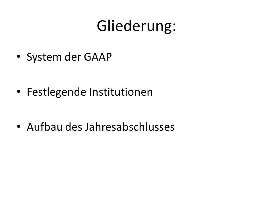 Gliederung: System der GAAP Festlegende Institutionen Aufbau des Jahresabschlusses