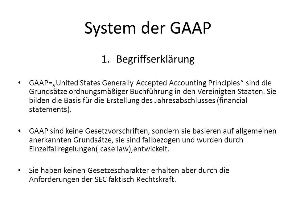 System der GAAP 1.Begriffserklärung GAAP=United States Generally Accepted Accounting Principles sind die Grundsätze ordnungsmäßiger Buchführung in den