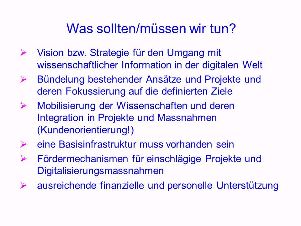 Was sollten/müssen wir tun. Vision bzw.