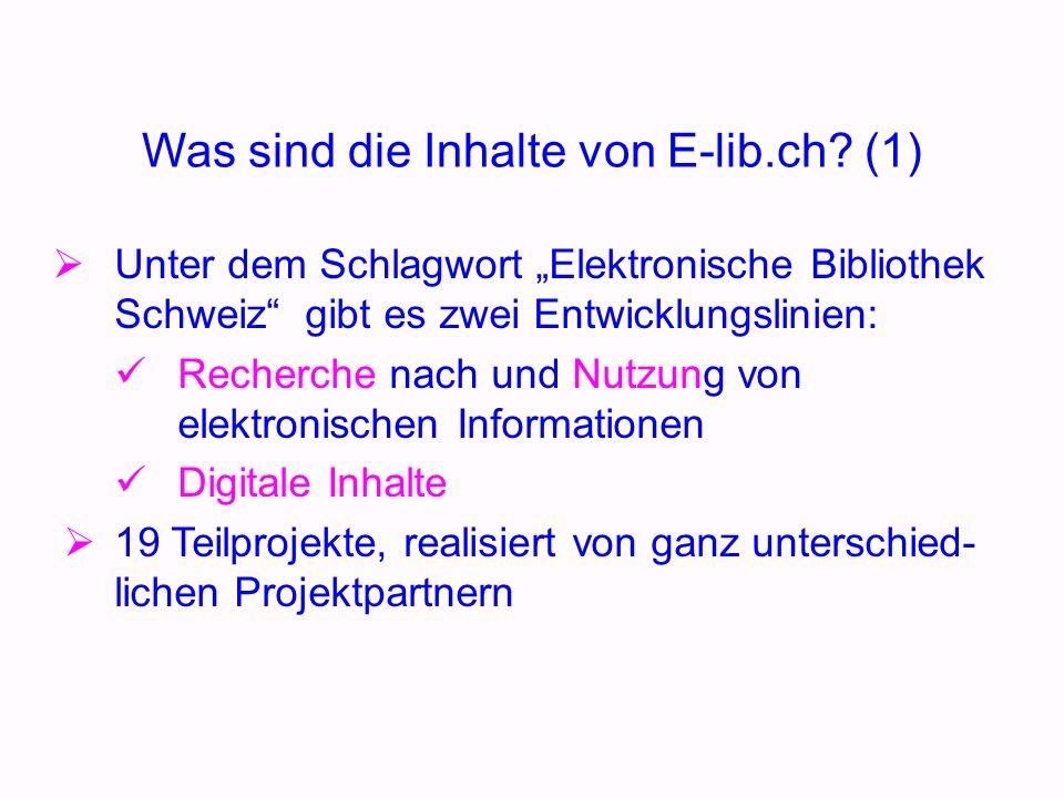 Was sind die Inhalte von E-lib.ch.